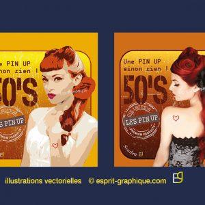 Création d'illustrations numériques -pin up ©esprit graphique